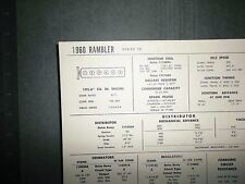 1960 Rambler Six Series 10 Models 195.6 Ci L6 Tune Up Chart