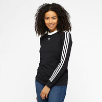 Adidas Originals Women's 3 Stripes T-Shirt Long Sleeve Top Tee DH3183 Black
