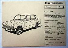 DDR Kleine Typensammlung Kraftwagen TRIUMPH 1300