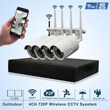 4CH CCTV Wireless IP Network WIFI Security Camera System 720P 1.0MP NVR  KIT P2P