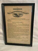 Vintage 1935 US Army PROMOTION DOCUMENT Ephemera Framed 2nd LT of Infantry