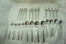 VINTAGE STAINLESS FLATWARE MID CENTURY MODERN NUANCE JAPAN 20 PC SILVERWARE SET