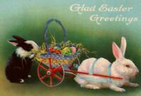 c1910 Antique Stecher Easter Postcard Two Rabbits Preparing Wagon Of Eggs  A25