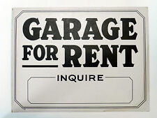 Vintage Garage For Rent Inquire Unused Old Store Stock Sign, Not Reproduction