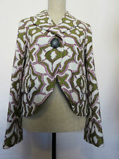 Marc Jacobs Multi Color Green Pink Beige Button Front Long Sleeve Wool Jacket 4
