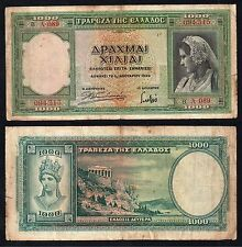 1000 drachmai Greece 1939 BB/VF  //