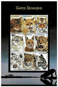 Mozambique 2000 - Wild Cats Tiger Cheetah Leopard - Sheet of 9 - Sc 1379 - MNH