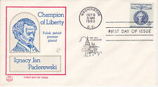 POSTAL HISTORY-1960 FDC IGNACY JAN PADEREWSKI CHAMPION OF LIBERTY TRI-COLOR CACH