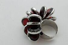 Wear Fashion Jewelry Dark Red Bead Flower Fun Women Silver Metal Chains Ring Day