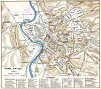 Map Antique Historic 1870 Ancient Rome City Plan Replica Canvas Art Print