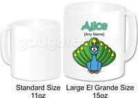 Personalised Animal Peacock Bird Mug Large Coffee Tea Cup Novelty Birthday Gift