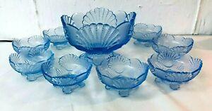MOSSER ART GLASS: ICE BLUE BEADED STIPPLE SHELL LARGE BOWL W 8 DESSERT BOWLS!