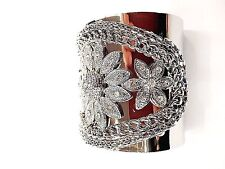 Vogue Extra Wide Chain Style And Rhinestone Flower Style Silver Cuff Bracelet