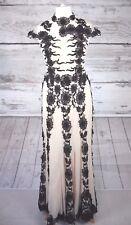 JJs HOUSE BUTTERMILK & BLACK LACE MAXI DRESS, GOWN - UK SIZE 12