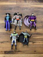 Lot Of 5 Late 90s Kenner DC Comics Batman & Joker Figures
