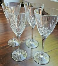 Set of Four Gorgeous Wine Glasses with Cut Glass Pattern and Floral Base Pattern