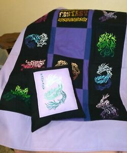 HANDMADE Fiery Fantasy Throw With Matching Pillow