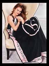 Victoria'S Secret Blanket Black And Pink Comfortable Great Gift For Bedroom Bed
