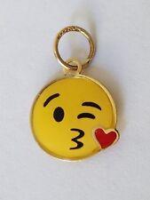 "Emojie 10k yellow gold emoji sending kisses heart love pendant charm .70"" long"