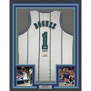 FRAMED Autographed/Signed MUGGSY BOGUES 33x42 Charlotte White Jersey PSA/DNA COA