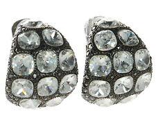 Kenneth J Lane KJL Black and White Large Clip-on Crystal Earrings