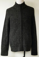 Kenneth Cole Reaction Dark Gray Heavy Wool Blend Zip-Front Cardigan Sweater XL