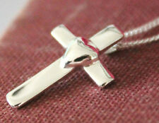 925 solid Sterling Silver small heart cross and curb chain free gift box