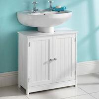 Brand New Under Sink Basin Storage Unit in White Wood Bathroom Furniture Cabinet
