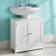 Under Sink Basin Bathroom Storage Cabinet Organizer Unit White Wood Furniture