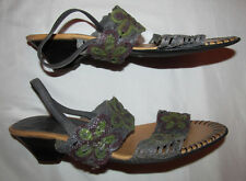 PIKOLINOS woven floral powder blue and green singback sandals shoes 40  9.5