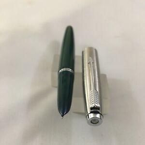 Parker 21 Brush Steel Dark Green white Sack FP Steel Medium USA Mint