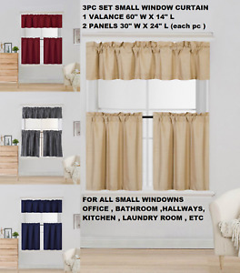 "New Modern 3PC Kitchen Blackout Window Valance Tier Curtain Panel Set 54""x24"" K4"