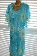~ CATTIVA ~ Devore Silk Dress & Jacket Crystal Size 14 Suit Mother of the Bride