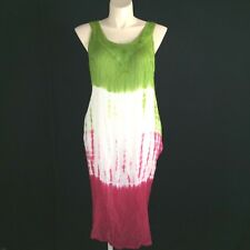 a0ea3bee5120f NEW India Boutique Dress Pocket Green Pink White Tie Dye Rayon Midi FREE  SIZE