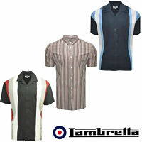 Lambretta Chalk Stripe Mens Shirts Bowling Short Sleeve Cotton Button Up UKS-4XL
