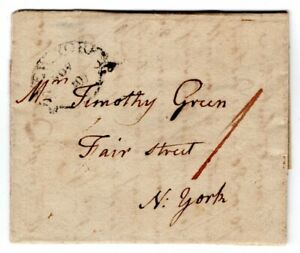 "New York, NY 1800 Stampless Folded Letter Drop ""1"""