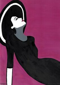 original painting А4 22BnI art samovar acrylic Illustration female portrait