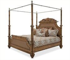 Excursions Exotic Bamboo California King Canopy Bed /Brushed Pewter Grey Accents