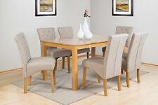 SHERWOOD SOLID WOOD OAK FINISH DINING TABLE + 6 CHAIRS IN BEIGE OR GREY FABRIC