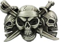 BOUCLE DE CEINTURE 3 SKULLS / CRANE / TETE DE MORT- DECO USA / BIKER/ ETATS UNIS