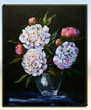 "Peonies -  Still Life Original Painting Signed by N.Stangrit 9""x12"""