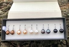 925 Sterling Silver Round Shape Gray Fw Cultured Pearl Dangle Earrings 29mm