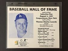 TOMMY LASORDA LA DODGERS 1997 8X10 HALL OF FAME INDUCTION DAY CARD POSTMARKED