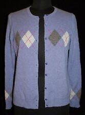 Charter Club Cashmere Sz M Cardigan Sweater Purple Argyle Soft Womens