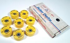 ROLLER DERBY 88 VINTAGE ROLLER SKATE WHEELS YELLOW 1970s NEW COMPLETE SET NIB