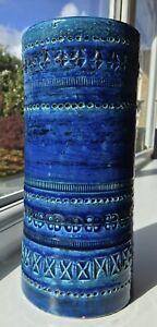 Stunning Italian Bitossi Rimini Blue Ceramic Vase By Aldo Londi Large 24cm