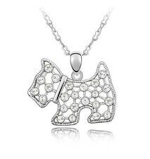 18K Gold GP SWAROVSKI Element Crystall Puppy Dog Pendant Necklace Silver