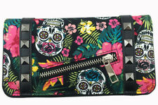 Banned Apparel Skulls Roses Hibiscus Floral Gothic Rock Punk Wallet Tattoo Purse