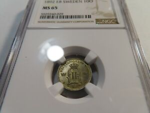 N125 Sweden 1892-EB 10 Ore NGC MS-65