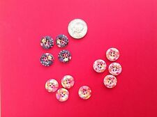 Floral Wooden Buttons (Approx 15mm) x 12 Assorted Colours Brand New